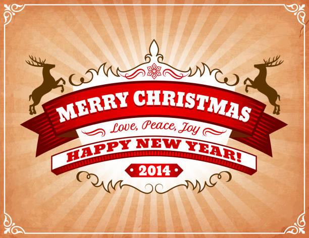 ilustrações de stock, clip art, desenhos animados e ícones de merry christmaas e feliz ano novo de 2014 saudação de cartão - christmaas