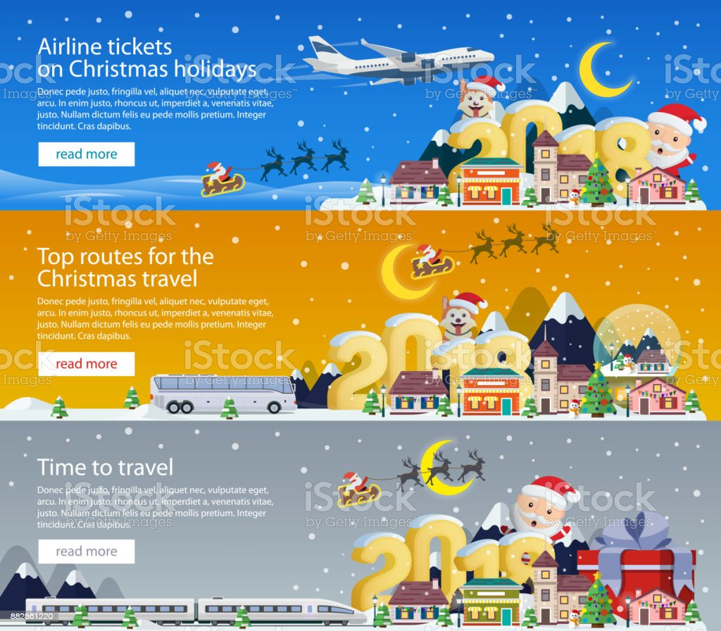 Merry Christmas 2018 banners in flat style. Traveling by plane, bus and train. Santa Claus and the dog. The winter vacation. vector art illustration