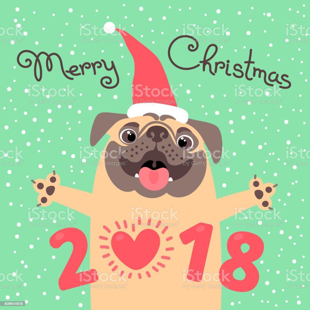 noel 2018 jour ferie Joyeux Noël 2018 Carte Avec Le Chien Funny Pug Félicite Le Jour  noel 2018 jour ferie