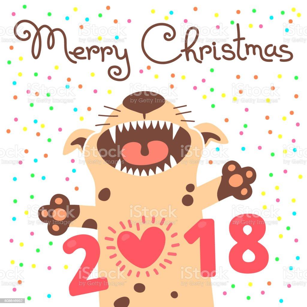 Favorit Joyeux Noël 2018 Carte Avec Le Chien Chiot Drôle Félicite En  HZ93