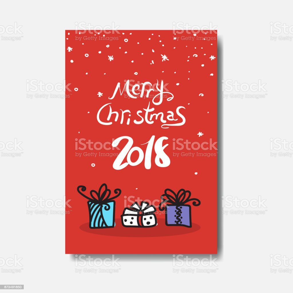 Merry christmas 2018 greeting card doodle design of cute winter merry christmas 2018 greeting card doodle design of cute winter holiday postcard royalty free merry m4hsunfo