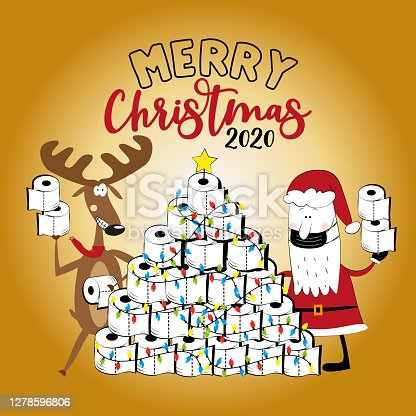 istock Merry  Christmas 2020 -Funny reindeer and Santa Claus in facemask and toilet paper christmas tree. 1278596806