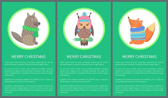 Merry Christmas 60s Postcard Vector Illustration