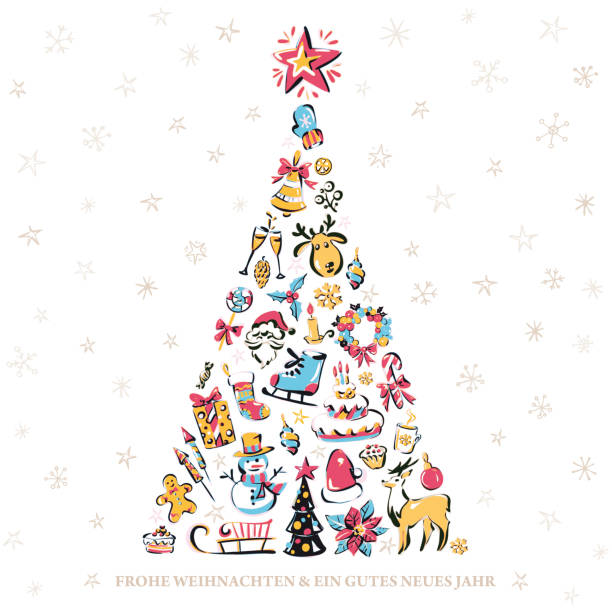 "Merry Christmas & a Happy New Year - Christmas card in German Set of colored vector winter elements in form of a christmas tree and an inscription ""Frohe Weihnachten & ein gutes neues Jahr"". Merry Christmas! Modern x-mas greeting card weihnachten stock illustrations"