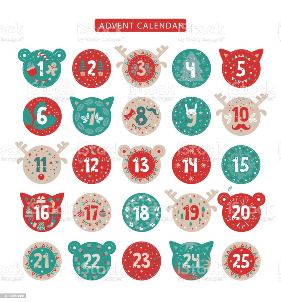 Joyeux Noël AVENT calendrier design - Illustration vectorielle