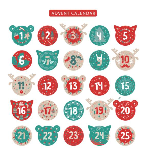 merry christmas advent calendar design - advent stock illustrations