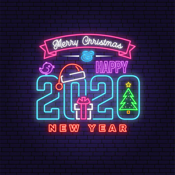 ilustrações de stock, clip art, desenhos animados e ícones de merry christmas and 2020 happy new year neon sign with christmas tree, gift, santa hat, bird. vector. neon design for xmas, new year emblem, bright signboard, light banner. night signboard - christmas cake