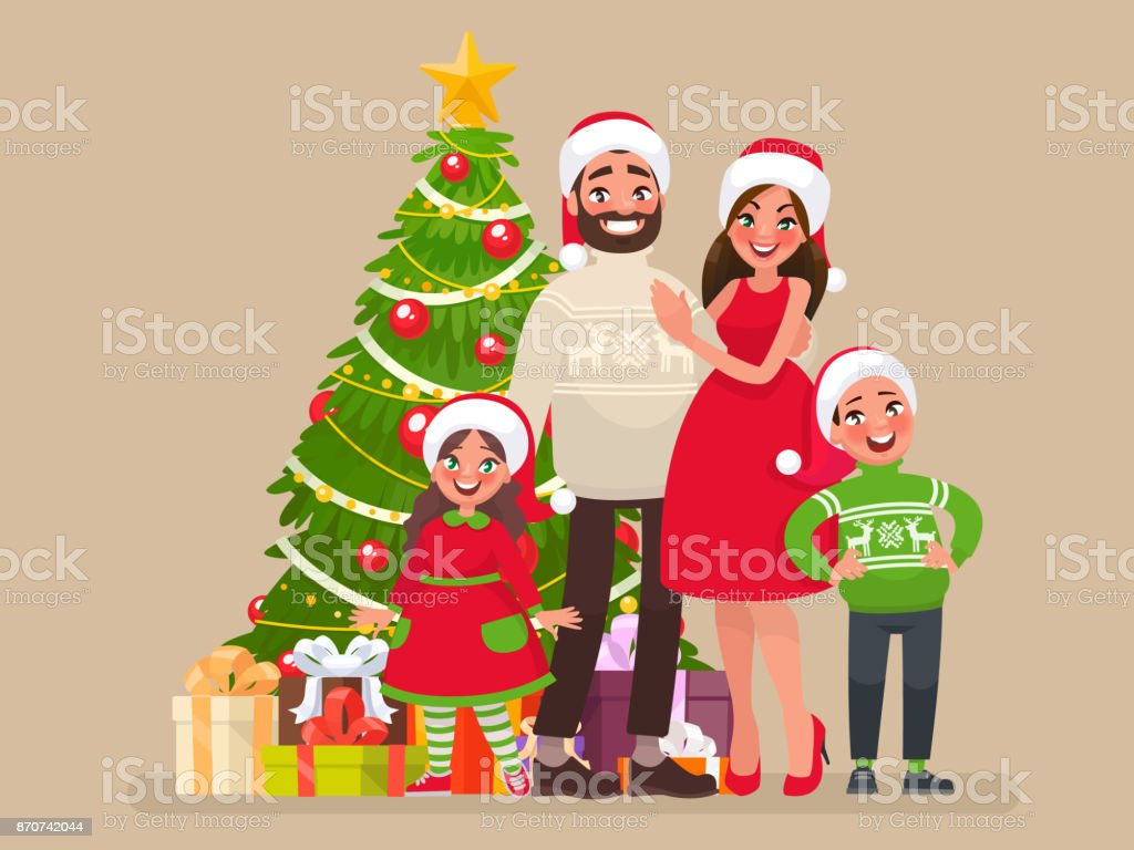 Frohe Weihnachten Familie.Frohe Weihnachten Und Ein Glückliches Neues Jahr Familie Und Weihnachtsbaum Mit Geschenken Stock Vektor Art Und Mehr Bilder Von Baum