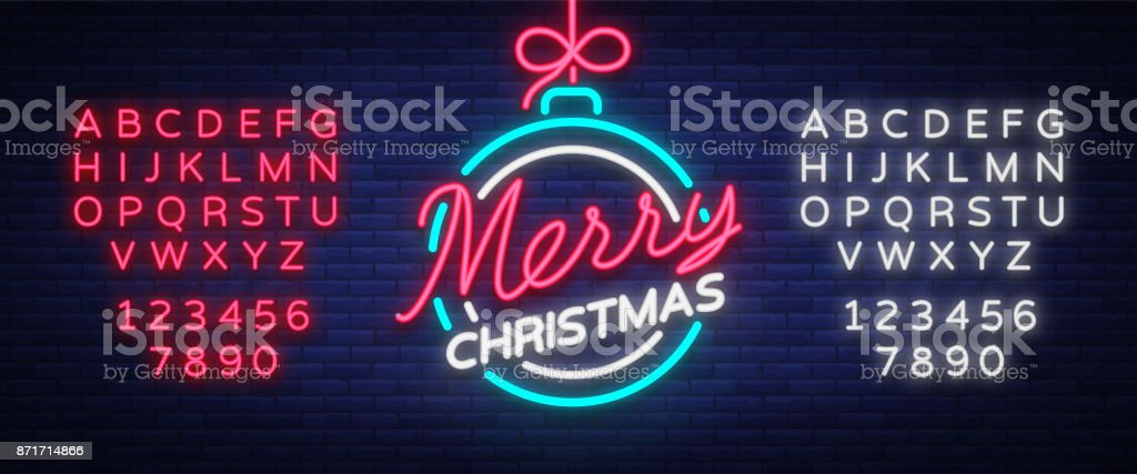 Merry christmas and a happy new year greeting card or invitation merry christmas and a happy new year greeting card or invitation pattern in neon style m4hsunfo