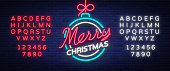 istock Merry christmas and a happy new year. Greeting card or invitation pattern in neon style. Neon luminous signboard, bright luminous banner. Vector vintage illustration. Editing text neon sign 871714866