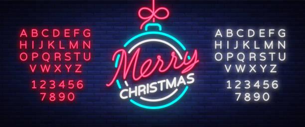 frohe weihnachten und ein glückliches neues jahr. grußkarte oder einladung muster in neon-stil. neon leuchtende schild, hell leuchtende banner. vintage vektorgrafik. bearbeiten von text-leuchtreklame - lampenshop stock-grafiken, -clipart, -cartoons und -symbole