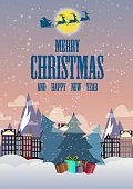 Merry Christmas and a Happy New Year. Illustration of Santa Claus in the sky going to the city. Gifts and cheerful mood. Snow falls. Ornamental, postcard, banner