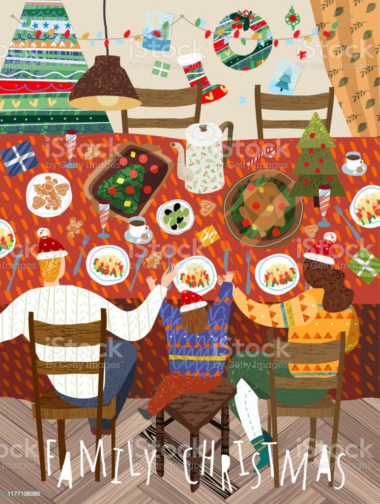 Merry Christmas and a happy new year in the family. Vector illustration of mother, father and child having a dinner at home in the decorated living room. Drawing for background, poster or card. - arte vettoriale royalty-free di Accogliente