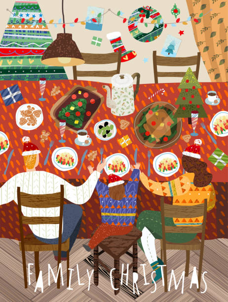 illustrazioni stock, clip art, cartoni animati e icone di tendenza di merry christmas and a happy new year in the family. vector illustration of mother, father and child having a dinner at home in the decorated living room. drawing for background, poster or card. - cena natale