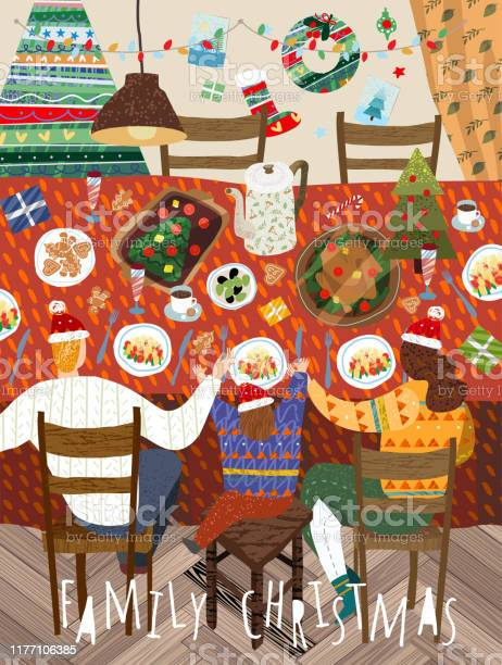 Merry Christmas And A Happy New Year In The Family Vector Illustration Of Mother Father And Child Having A Dinner At Home In The Decorated Living Room Drawing For Background Poster Or Card - Immagini vettoriali stock e altre immagini di Accogliente