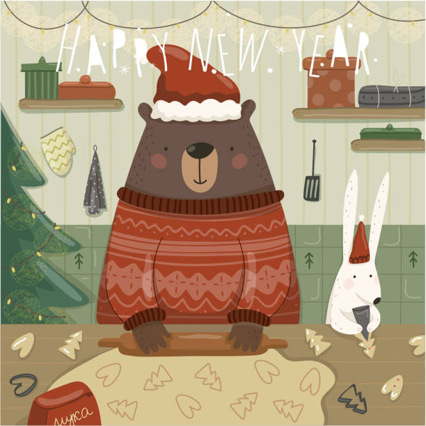 illustrazioni stock, clip art, cartoni animati e icone di tendenza di merry christmas and a happy new year! vector illustration of cute animal teddy bear and hare preparing gingerbread cookies for the holiday in the kitchen. drawing for card, background or poster. - christmas cooking