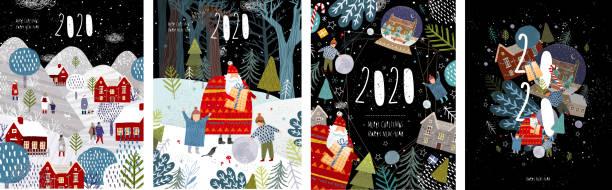 ilustrações, clipart, desenhos animados e ícones de 2020! feliz natal e um bom ano novo! vector a ilustração com as felicação do ano de vinda, da arquitectura da cidade do inverno da noite, da família e das crianças com papai noel e números 2020. - viagens e férias da família