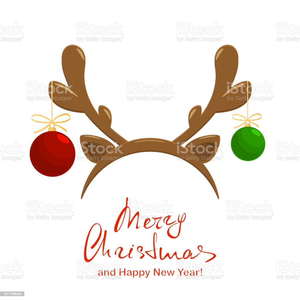 Merry Christmas and deer antler with balls vector art illustration