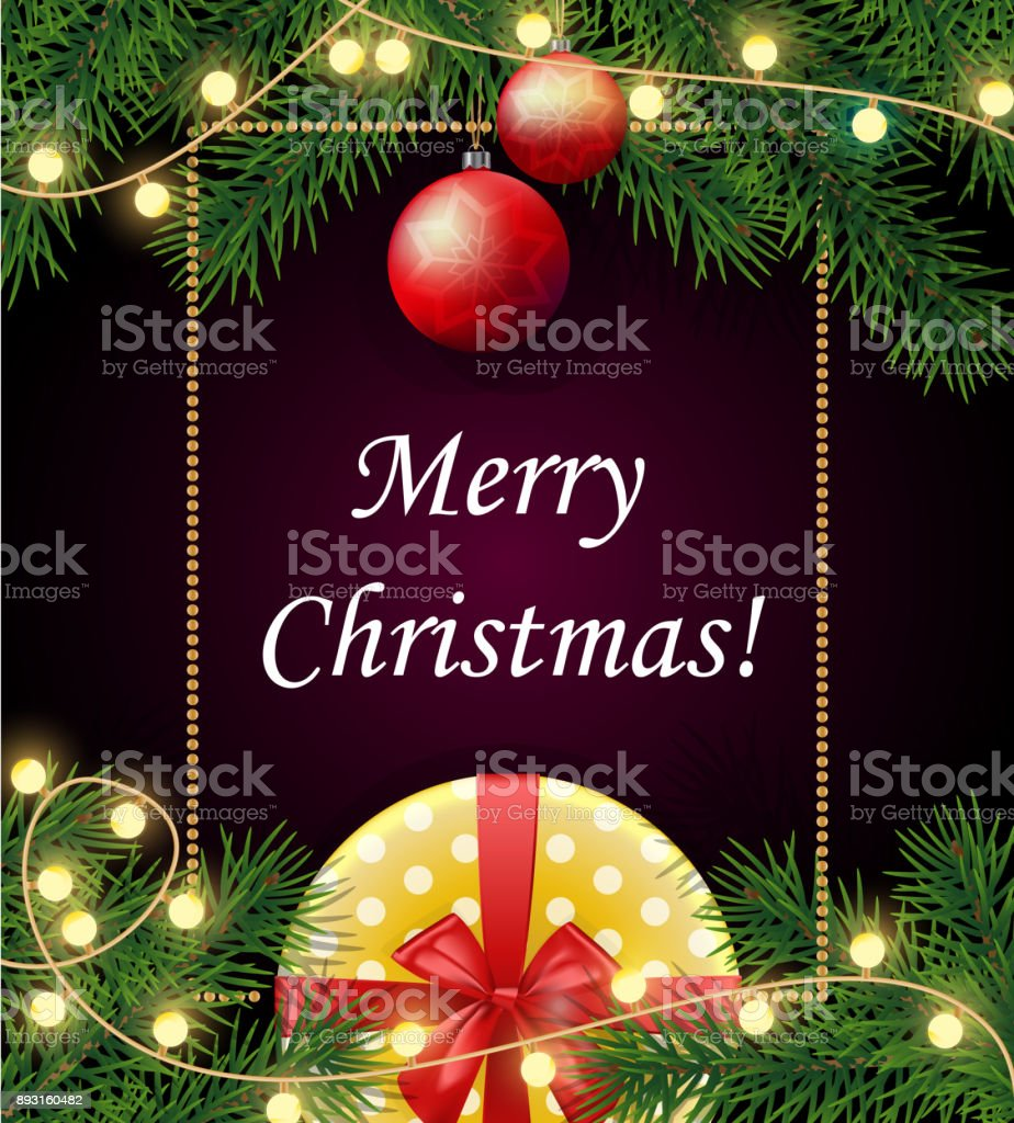 Merry Christmas And Happy 2018 New Year Background With Frame Real Tree Branches Yellow