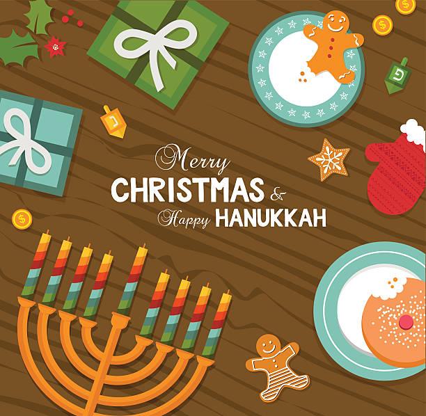 ilustraciones, imágenes clip art, dibujos animados e iconos de stock de merry christmas and happy hanukkah celebration - jánuca