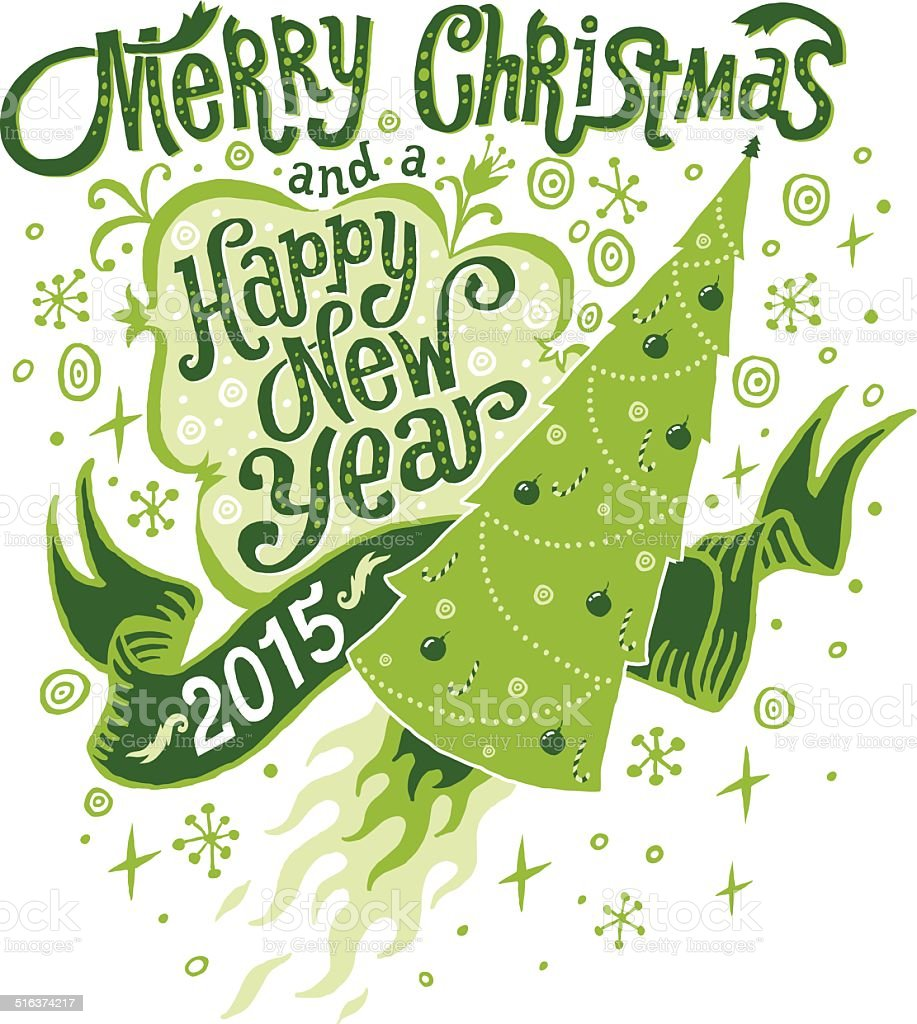 Merry Christmas And Happy New Year 2015 Greeting Card Stock Vector