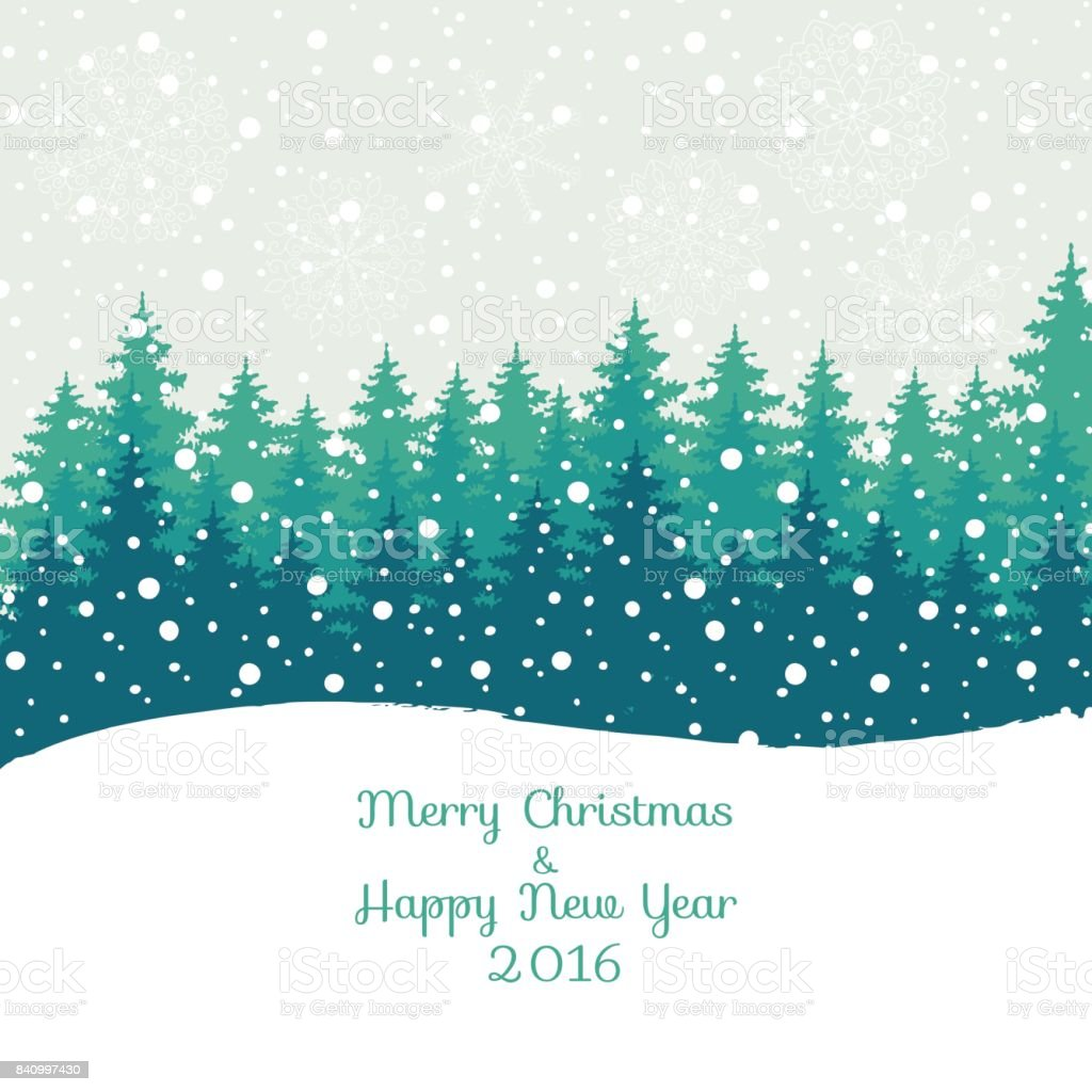 Merry Christmas and Happy New Year 2016  Christmas greeting card. Vector winter holidays landscape background with trees, snowflakes, falling snow. vector art illustration