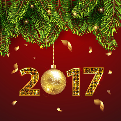 Merry Christmas and Happy New Year 2017 greeting card with Chrirstmas decor fir twigs and confetti, gold christmass ball and numbers 2017. Vector illustration. EPS 10