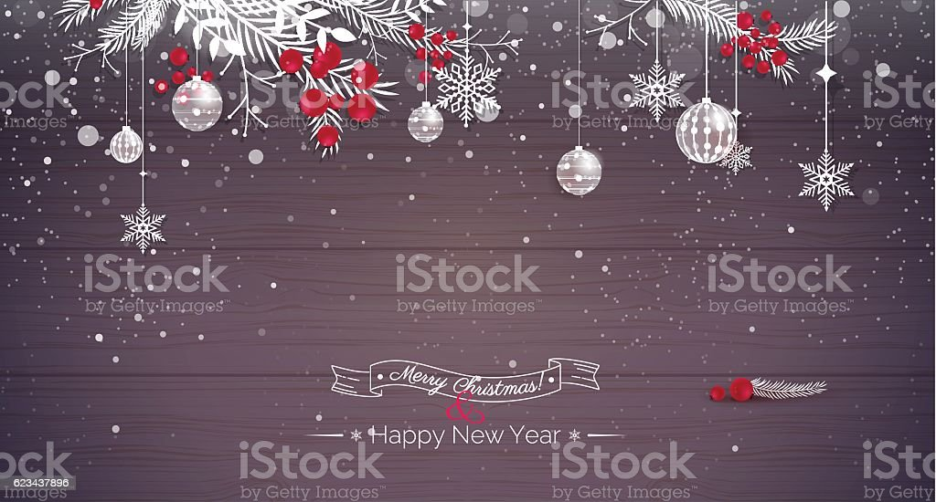 Merry christmas and Happy new year 2017 holiday background. vector art illustration