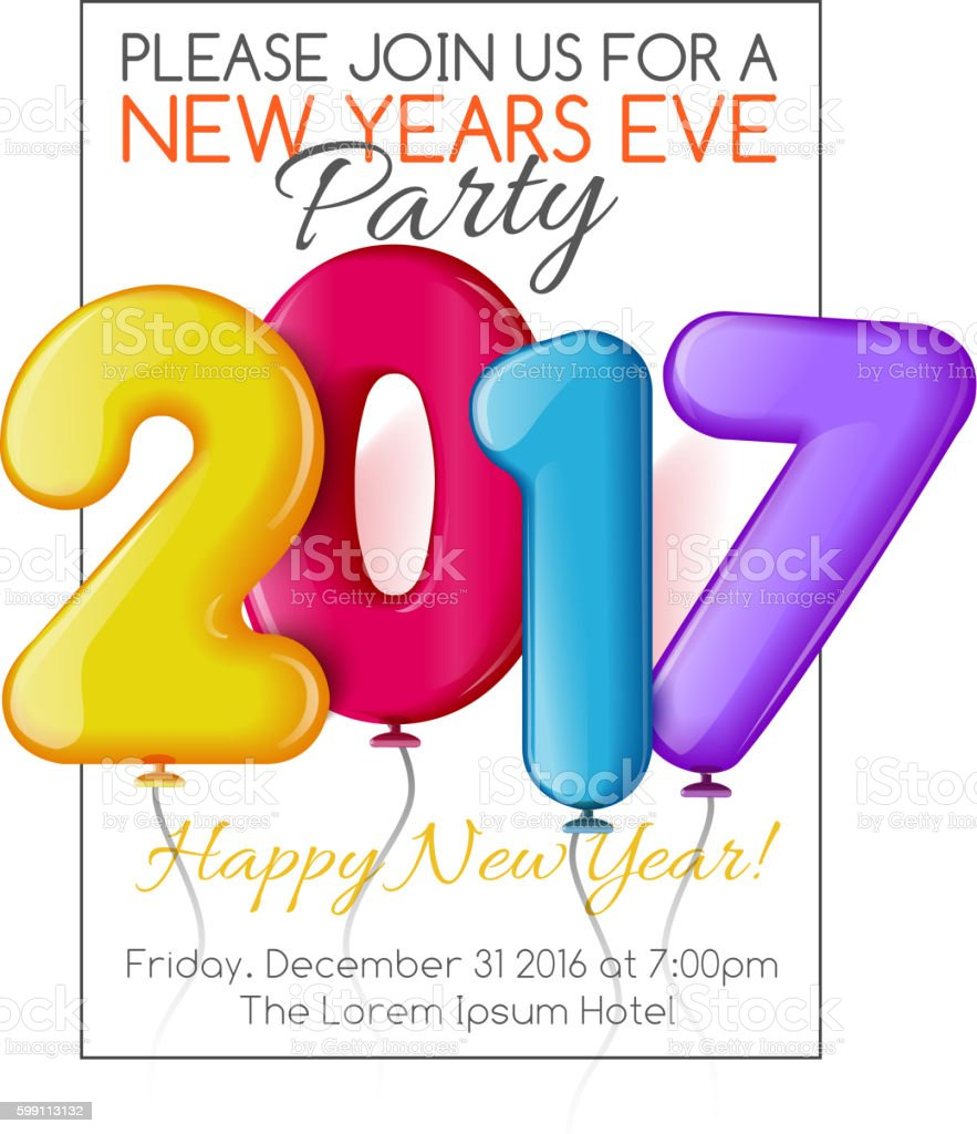 Merry Christmas And Happy New Year 2017 Party Invitation Template ...