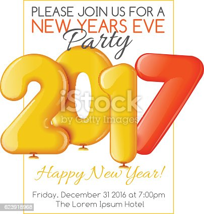 Merry Christmas And Happy New Year  Party Invitation Template