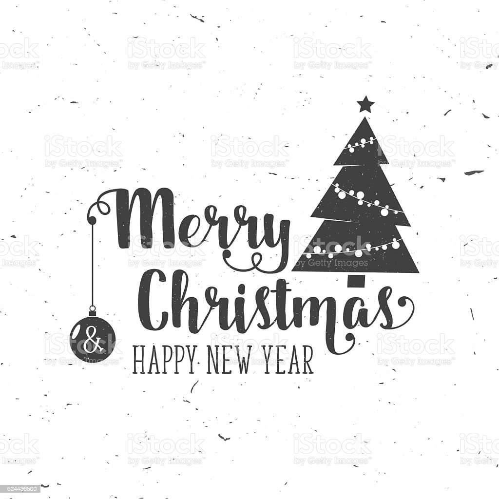 Merry Christmas And Happy New Year 2017 Typography Royalty Free