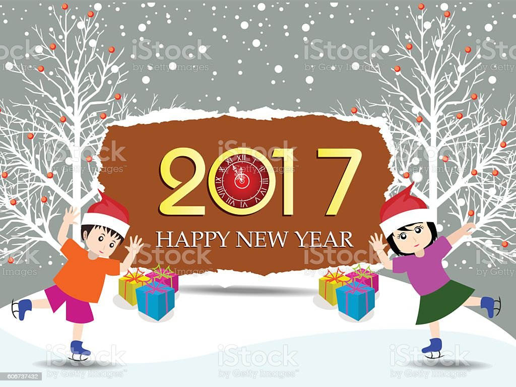 merry christmas and happy new year 2017 with funny kids 2017年の