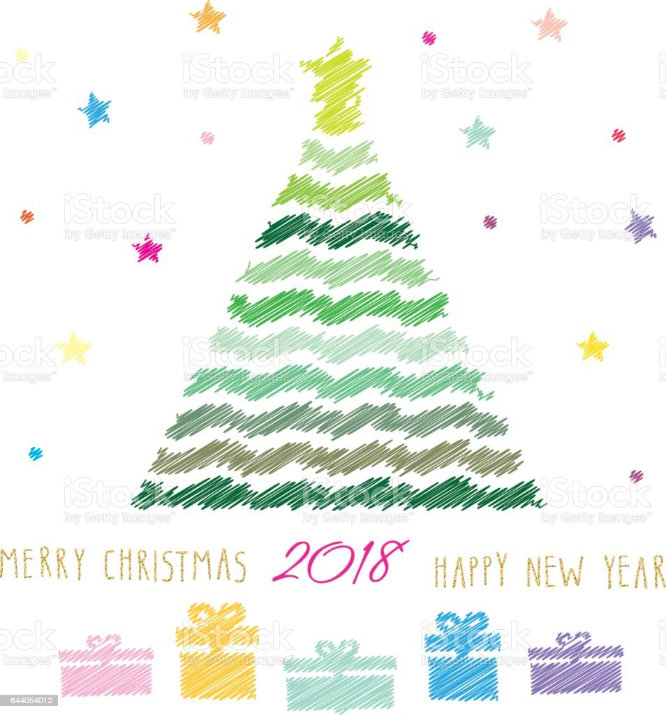 merry christmas and happy new year 2018 card colour pencils