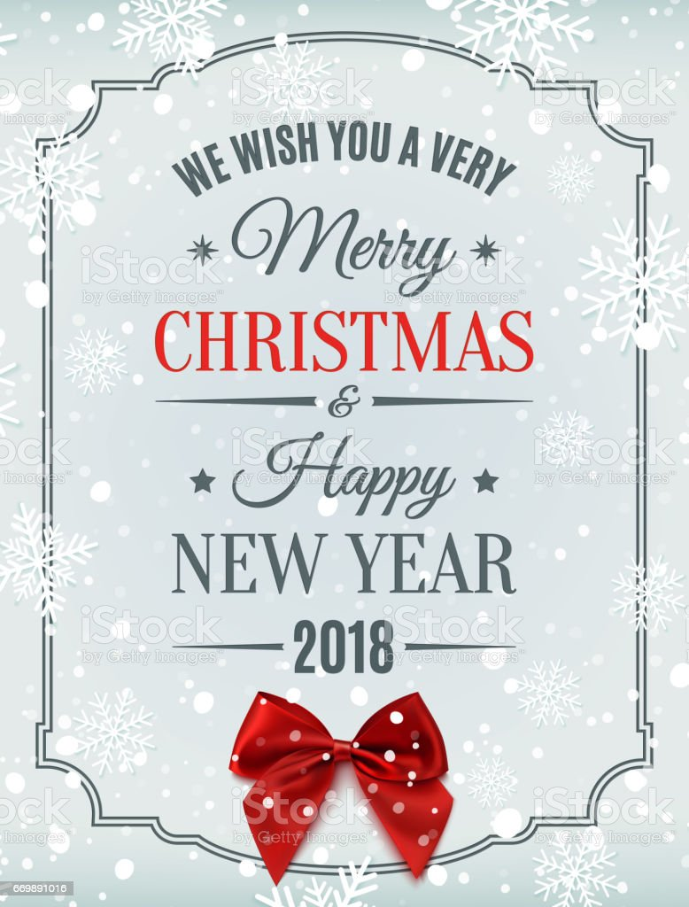 Merry Christmas And Happy New Year 2018 Card. Royalty Free Merry Christmas  And Happy