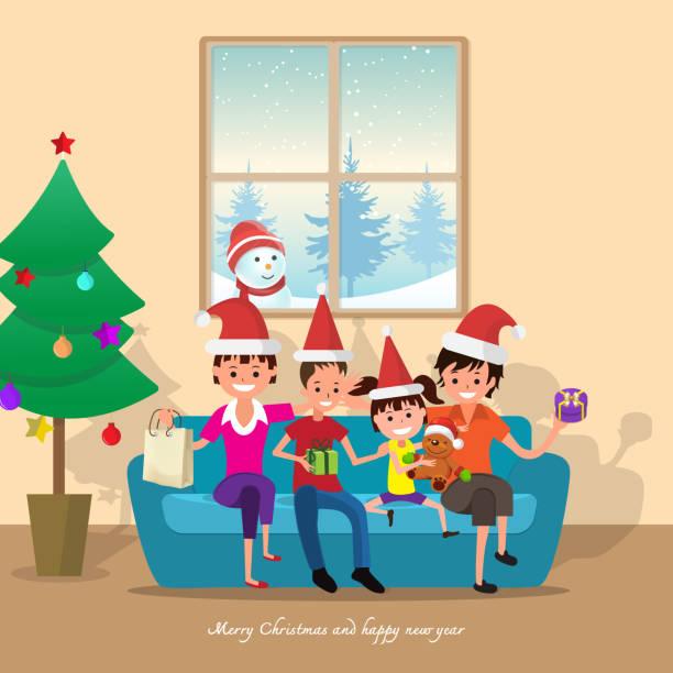bildbanksillustrationer, clip art samt tecknat material och ikoner med god jul och gott nytt år 2018 kort med family.vector illustration. - cosy pillows mother child