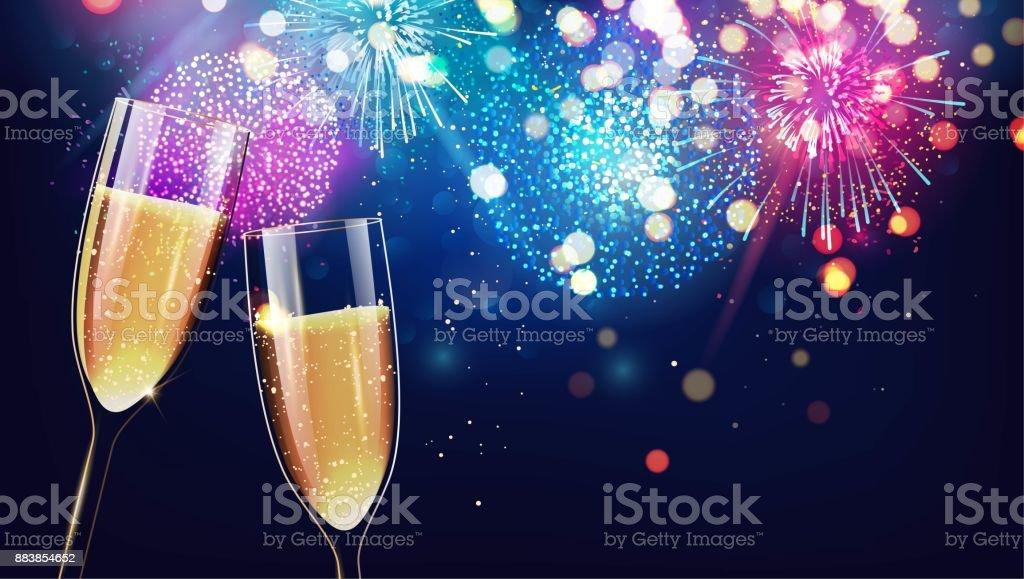 Merry christmas and happy new year 2018 festive background with two glasses of champagne on sparkling holiday background. - Royalty-free 2018 stock vector