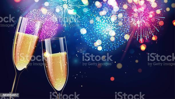 Merry Christmas And Happy New Year 2018 Festive Background With Two Glasses Of Champagne On Sparkling Holiday Background Stock Illustration - Download Image Now