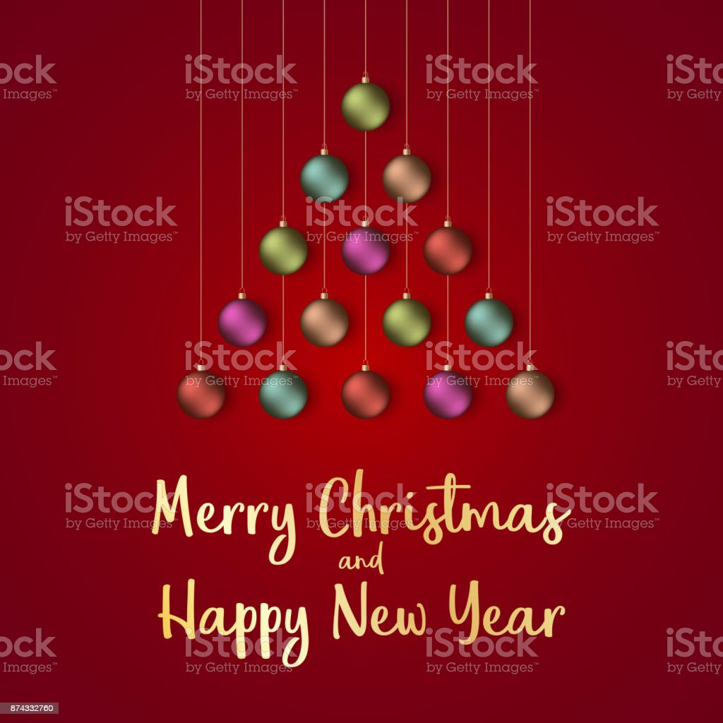 merry christmas and happy new year 2018 greeting card vector illustration royalty free