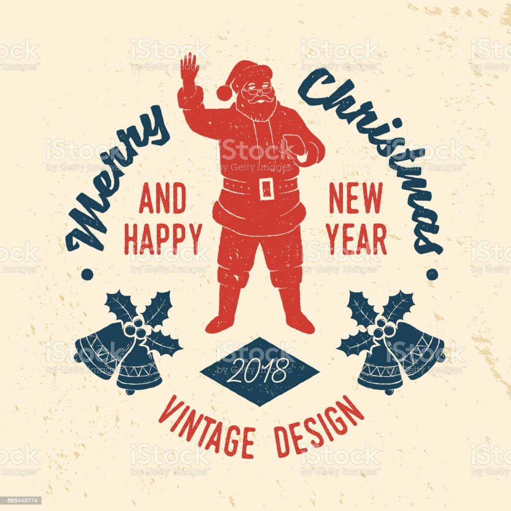 merry christmas and happy new year 2018 retro template with santa claus royalty free merry