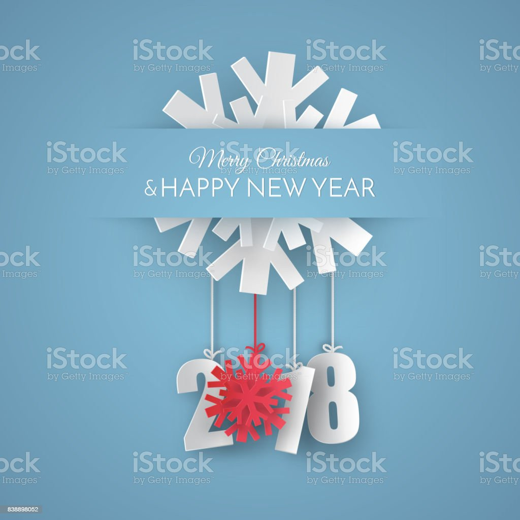 merry and happy new year 2018 vector greeting