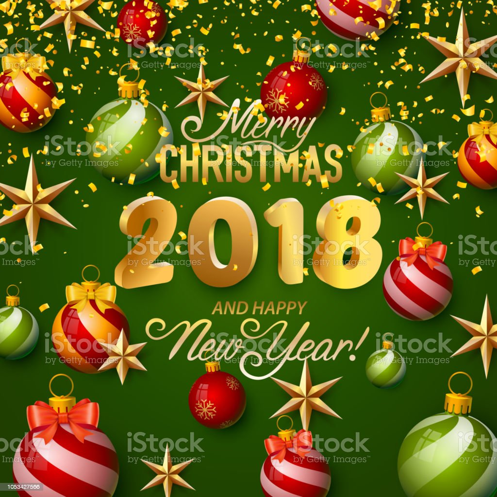 Merry Christmas And Happy New Year 2018 Stock Vector Art & More ...