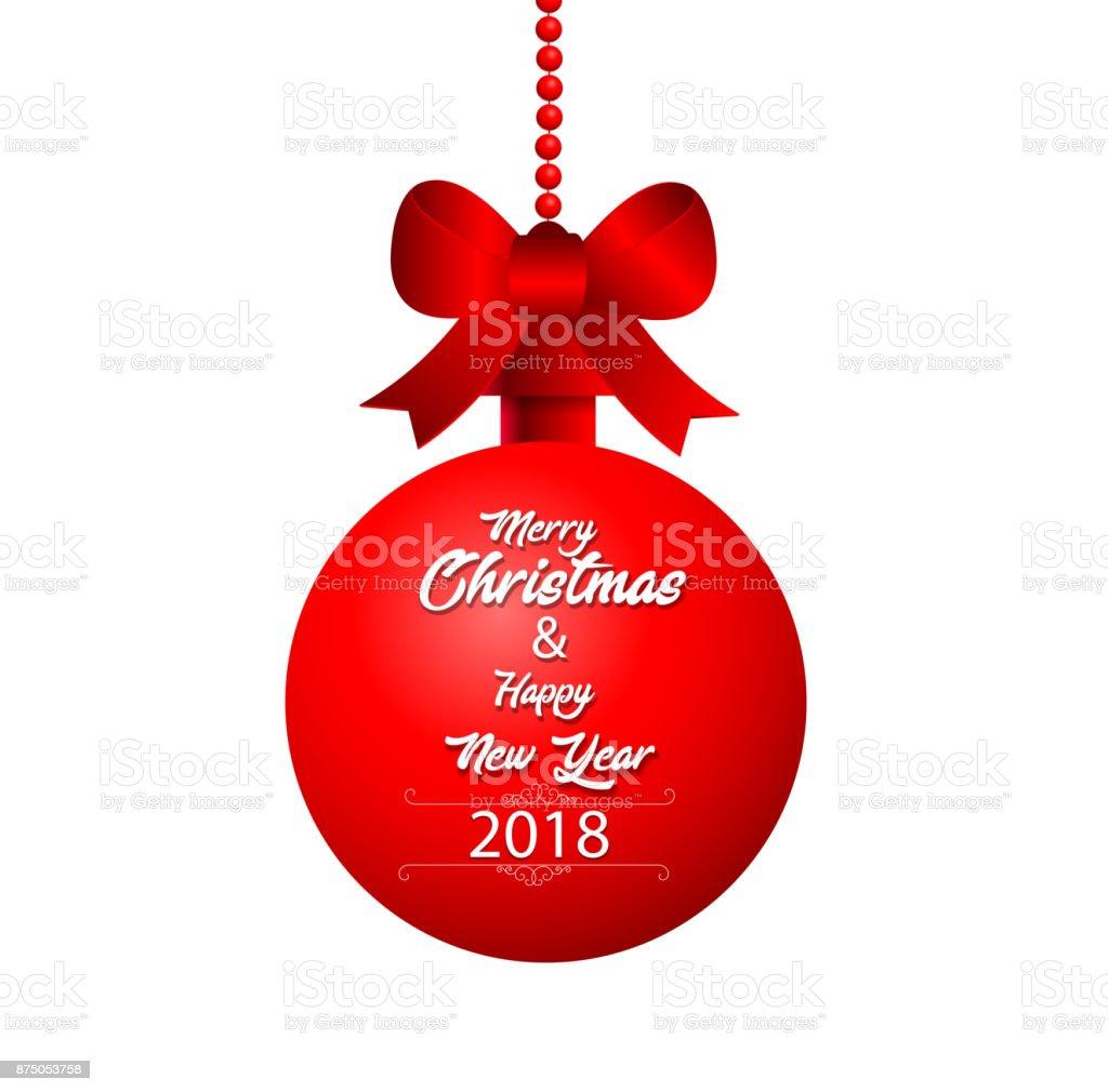 frohe weihnachten und happy new year 2018 mit rote. Black Bedroom Furniture Sets. Home Design Ideas