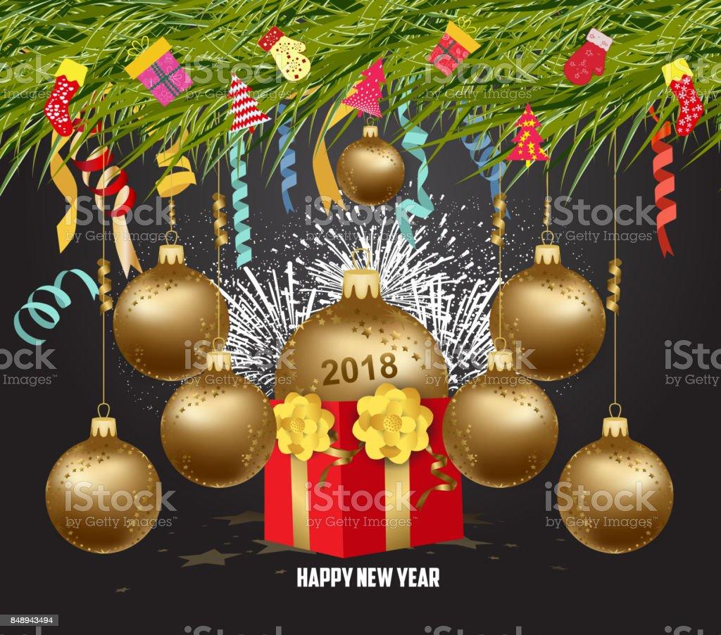 Frohe Weihnachten Und Frohes Neues Jahr 2018with Geschenk Kugeln ...