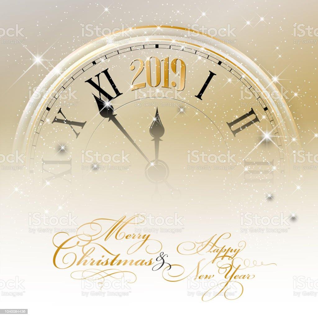 Frohe Weihnachten Und Ein Glückliches Neues Jahr 2019 Karte Stock ...