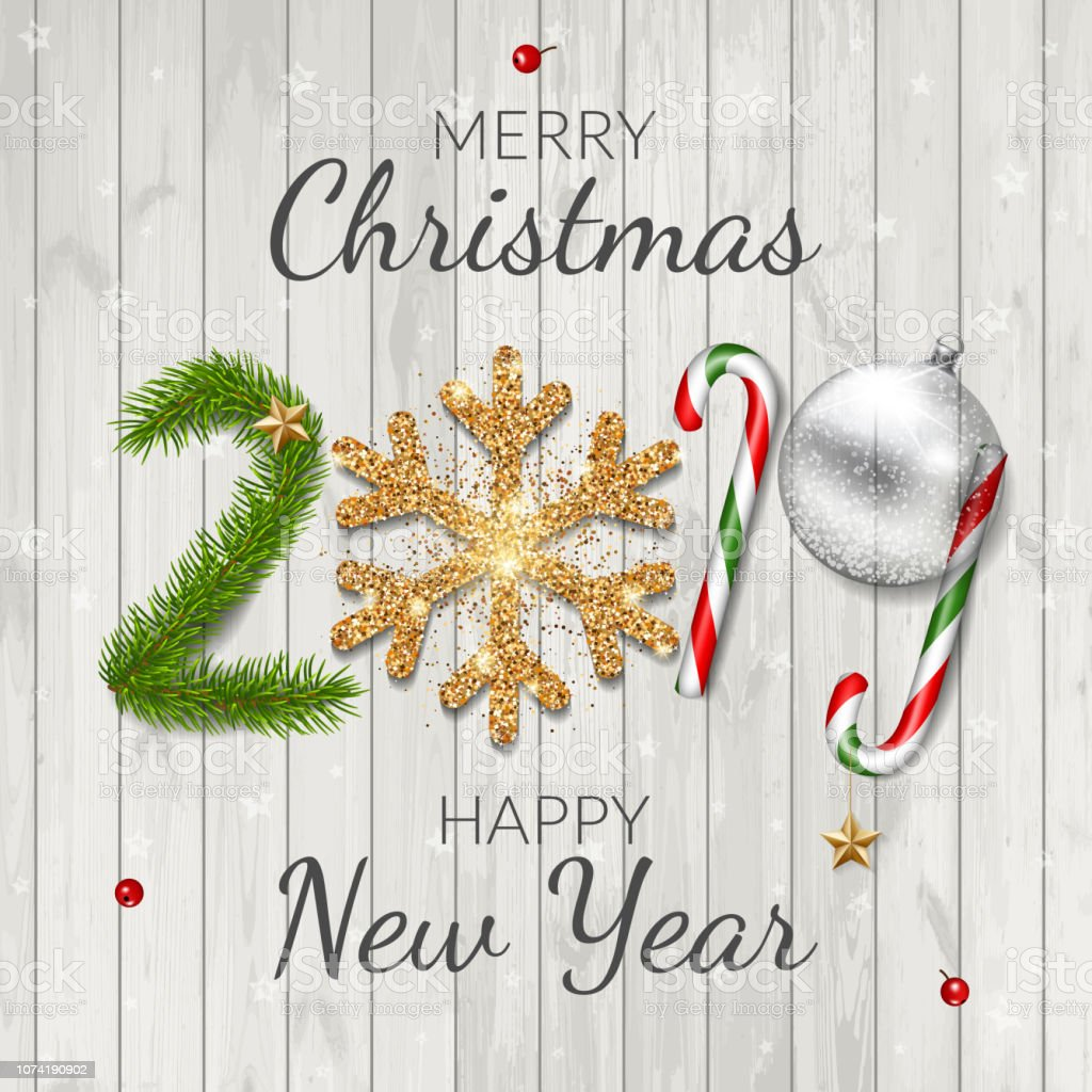 Merry Christmas And Happy New Year 2019 Greeting Card On