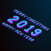 merry christmas and happy new year 2019 lettering. pixel isometric text element for design in modern color. stock vector illustration