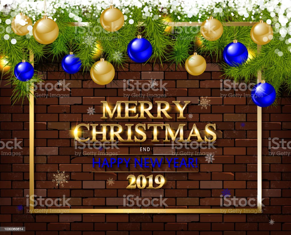 Merry Christmas And Happy New Year 2019 Stock Vector Art More