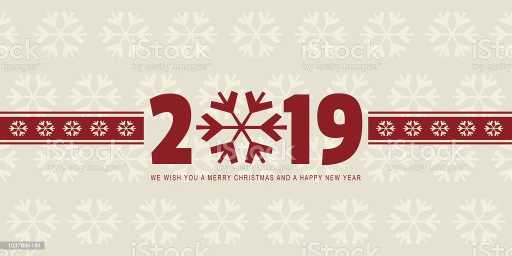 merry christmas and happy new year 2019 vintage web banner vector illustration royalty