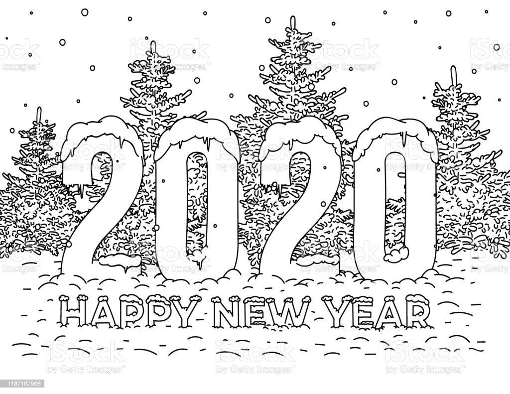 Vetores De Feliz Natal E Feliz Ano Novo 2020 Cartao Sinal Simbolo