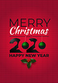 Merry christmas and Happy New Year 2020. Ugly sweater style. Design elements and borders for Christmas, New Year or winter design. Vector illustration. Isolated on knitted red background.